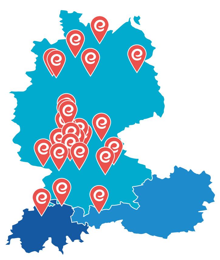 Deutschlandkarte - Partner-Sanitätshäuser von eMovements
