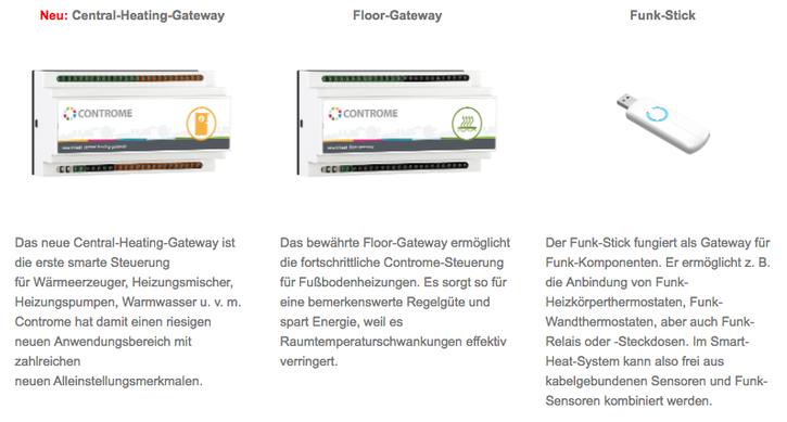 Neu: Central-Heating-Gateway, Floor-Gateway, Funk-Stick