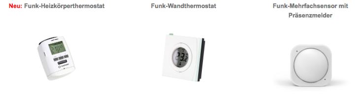 Neu: Funk-Heizkörperthermostat, Funk-Wandthermostat, Funk-Mehrfachsensor mit Präsenzmelder